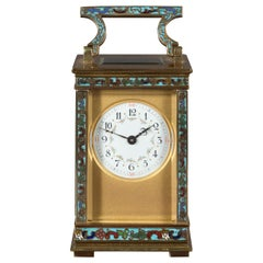 Victorian Carriage Clock with Champleve Decoration c.1890