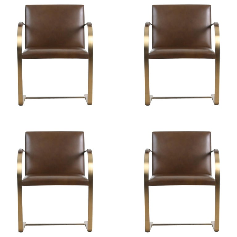"""Brass """"Brno"""" Chairs by Mies Van Der Rohe for Knoll International, Signed 1976"""