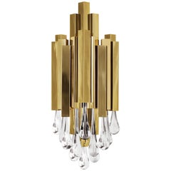Luxxu Trump Wall Sconce in Gold-Plated Brass and Crystal Glass Details