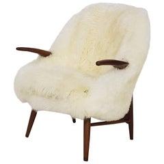 Danish Teak Lounge Chair in Sheepskin, Denmark, 1960s