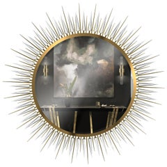 Luxxu Explosion Extra Large Mirror in Smoked Glass and Brass with Crystal Arms