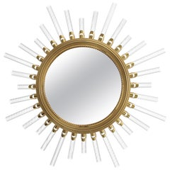 Luxxu Majestic Extra Large Mirror in Gold-Plated Brass with Crystal Flute Lights