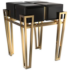 Luxxu Nubian Side Table in Black Lacquer with Black Glass with Brass Legs