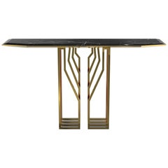 Luxxu Scarp Console Table with Nero Marquina Marble Top and Brass Legs