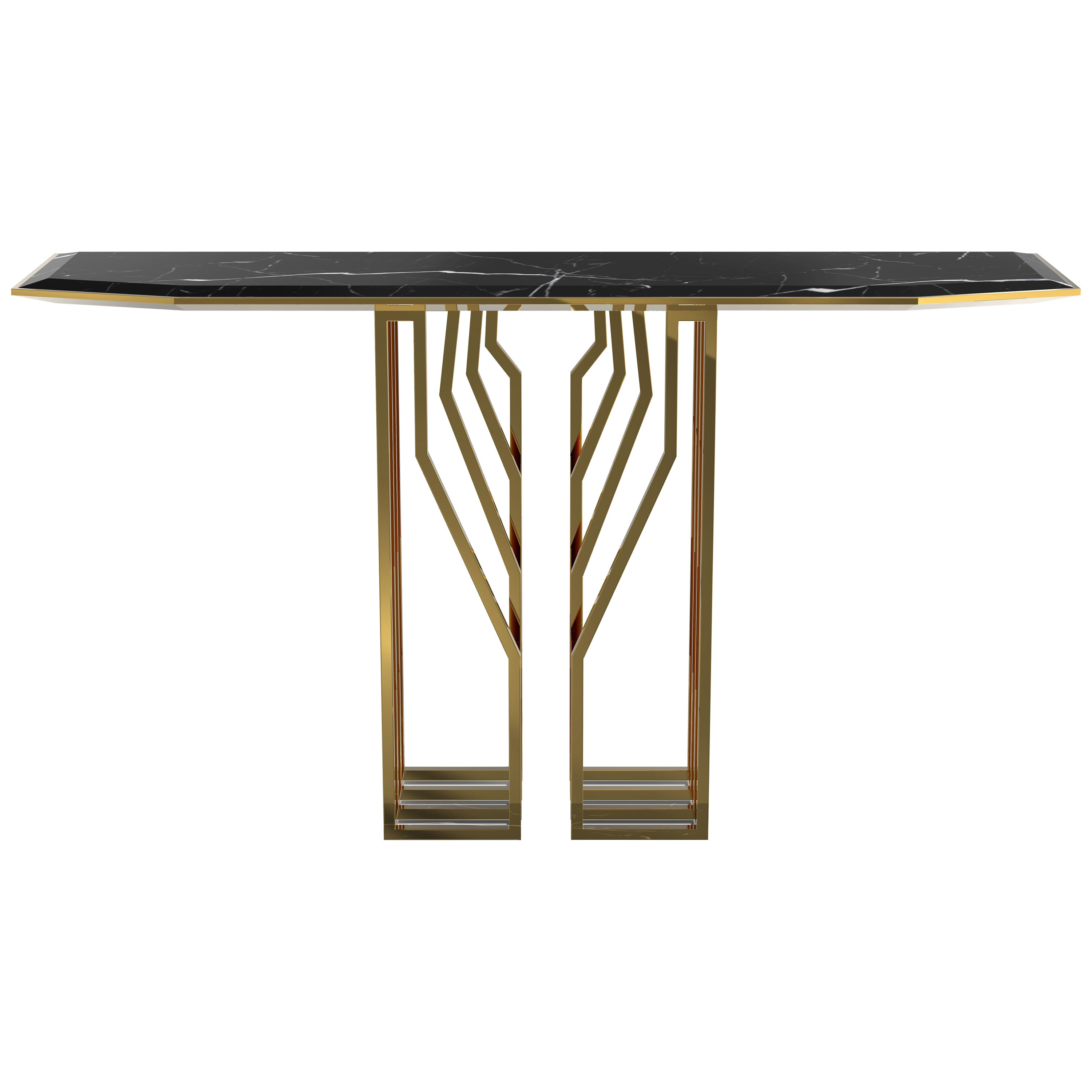 Scarp Console Table with Nero Marquina Marble Top and Brass Legs