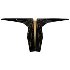 Luxxu Suspicion Console Table in Black Marble with Brass Details