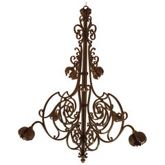 Large Hand Crafted Wrought Iron Signed Chandelier, France 1920s