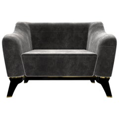 Luxxu Saboteur Armchair in Gray Velvet with Black Leather Base