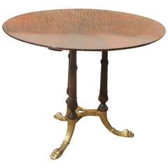 Round Mid-Century Modern Italian Dining Room Table Rosewood Brass Lion's Foot