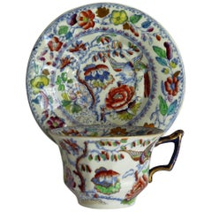 Mason's Ironstone Cup and Saucer in the Flying Bird Pattern, circa 1870