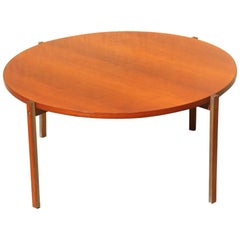 Round Table Coffe Mid-Century Modern Italian Design Wood Teak Brass Parts