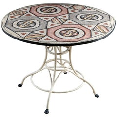 Mid-20th Century Mosaic Topped Circular Centre Table with Painted Metal Base