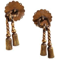 Pair of French Beaten Gilt Bronze Metal Curtain Tiebacks Attributed to Poillerat