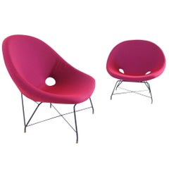 Augusto Bozzi Perfectly Upholstered Pair of Cosmos Chairs for Saporiti