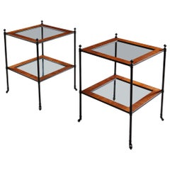 Pair of English Mallett Style Bronze Metal and Mahogany Etagere Side Tables