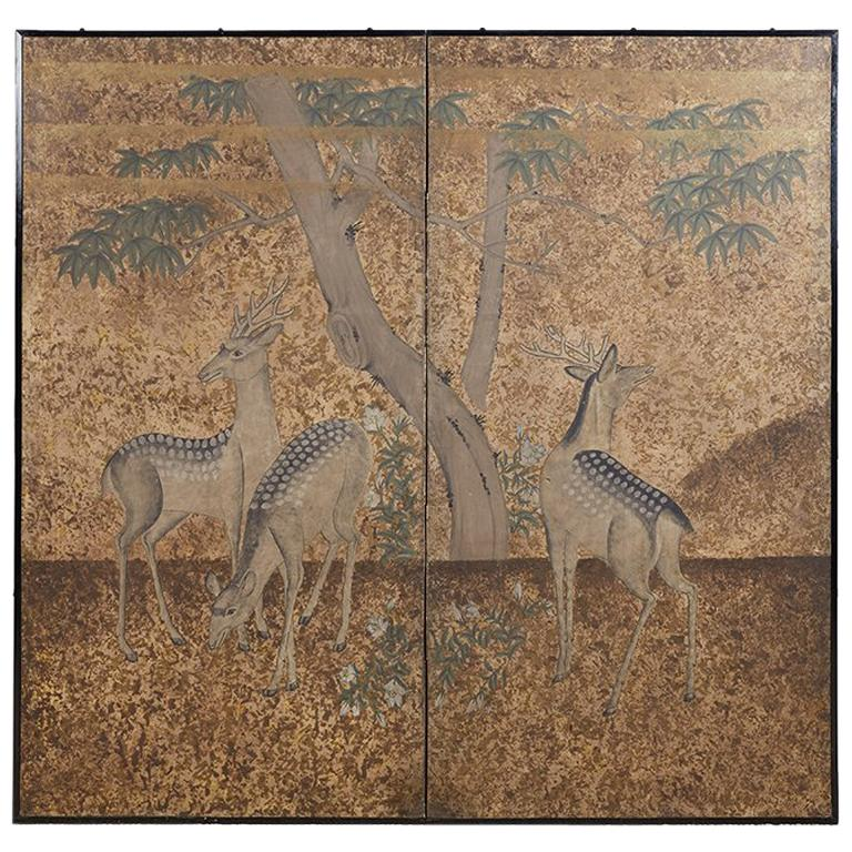 Japanese Two-Panel Showa Period Screen of Sika Deer For Sale