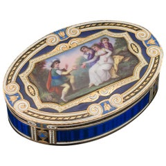 Antique 19th Century Swiss Gold and Hand Painted Enamel Snuff Box, circa 1800