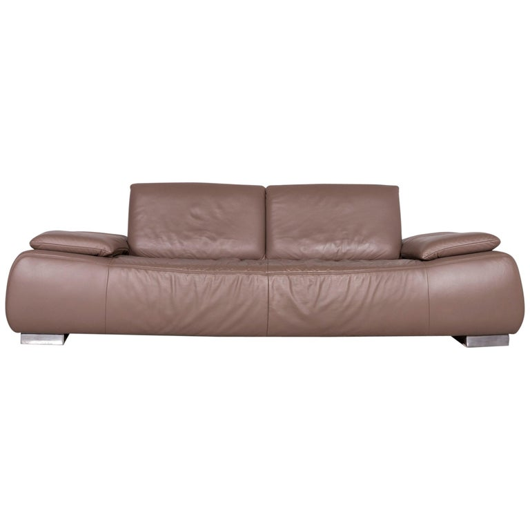 Koinor Volare Designer Sofa Brown Three-Seat Leather Couch with Function