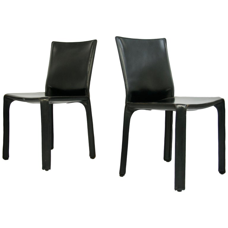 """Pair of Black Leather """"CAB"""" Chairs Designed by Mario Bellini For Sale"""
