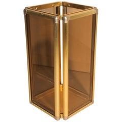 Umbrella Stand Italian Design Brass Glass Grey Color Minimal Design 1960