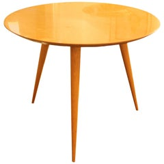 Round Table, Three Legs, Cherrywood, 1950s