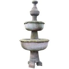 Tall Antique English Sandstone Garden Fountain