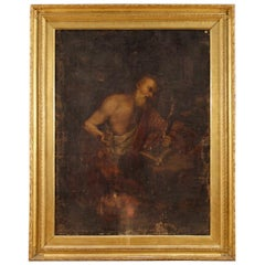 17th Century Oil on Canvas Italian Religious Painting Saint Jerome, 1690