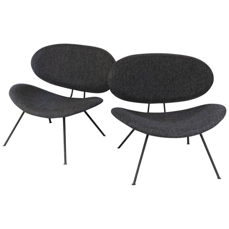 Pair of Lounge Chairs Black Steel and Dark Grey Fabric, France, 1980s