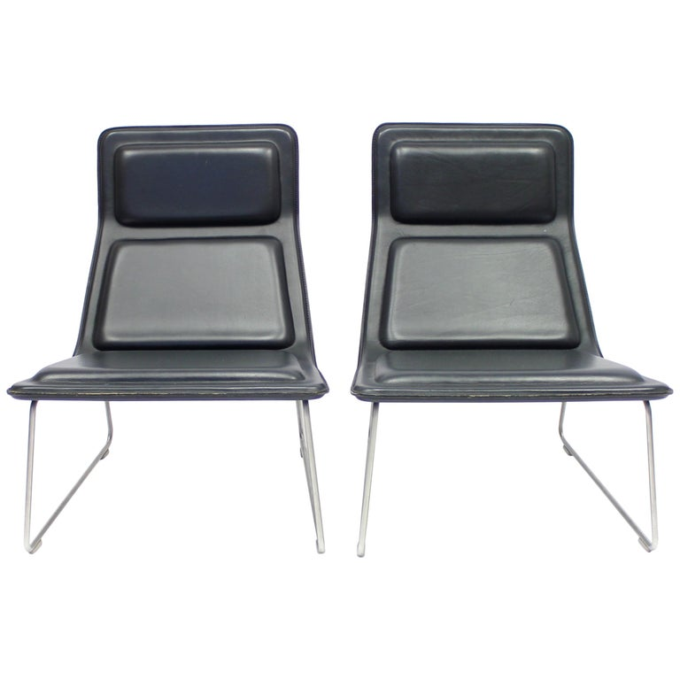 Hi Pad Stool In Black Leather And Stainless By Jasper