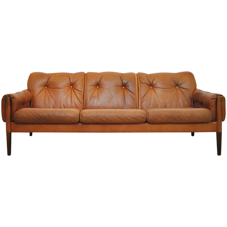 Scandinavian Cognac Brown Leather and Rosewood 3-Seat Sofa