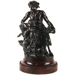 Male Satyr Bronze Group, Signed by Clodion 1738-1814