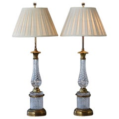 Pair of French Diamond Pattern Cut Crystal and Gilt Bronze Table Lamps