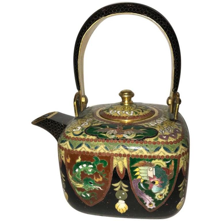 Decorative Japanese Cloisonné Enamel Teapot , Meiji Period