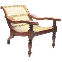 Antique Colonial Plantation Chair with Rattan Seat, Late 19th Century