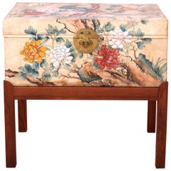 Unique Hand Painted Parchment Chest Attributed to Estrid Ericson, 1940s