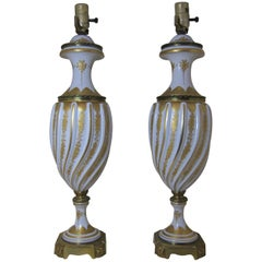 Pair French Porcelain Gilt Mounted Lamps