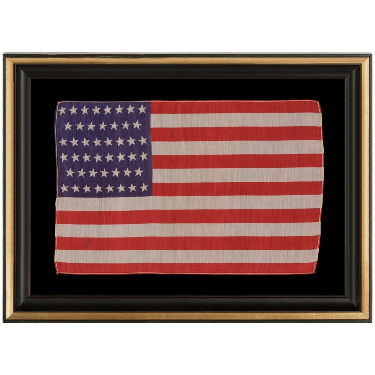 46 Stars in Canted Rows on an Antique American Parade Flag