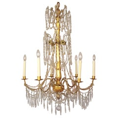 Pair of Late 18th Century Neoclassical Genoese Giltwood Chandelier