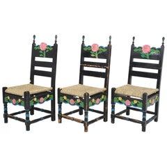 1920 Sicilian Art Deco Hand Painted Ladder Back Country Chairs
