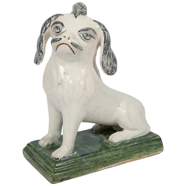 18th Century Faience Puppy Made in Brussels circa 1760 For Sale