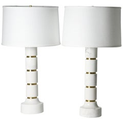 Pair of Marble Lamps, Italy 1970