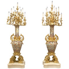 Palatial Pair of Mid-19th Century Gilt Bronze Mounted Imari Porcelain Torchères