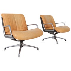 Saporiti Nude Leather Revolving Armchairs on Star Base