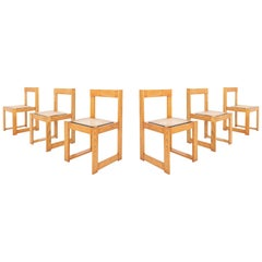 Architectural and Asymmetrical Dining Chairs in Pine and Wicker