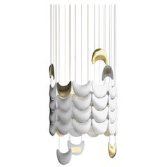"Contemporary ""Light Skin Lamp Shade"" Chandelier in Handmade Limoges Porcelain"