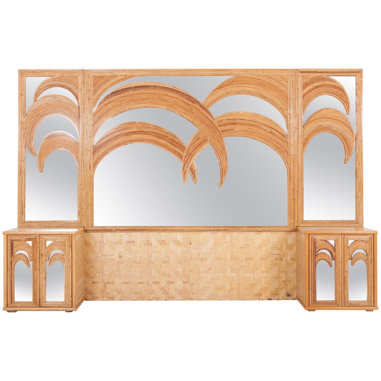 Vivai Del Sud Tropical Bamboo And Rattan Palm Tree Mirror With Cabinets For