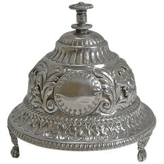 Antique English Sterling Silver Mechanical Table Bell, 1889