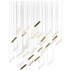 """Contemporary """"Oblique Rainy Day"""" Chandelier in Handmade Limoges Porcelain"""