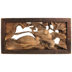 Japanese Edo Period Wood Temple Carving with Doves