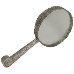 Huge Antique English Sterling Silver Magnifying Glass by Samuel Jacob, 1897